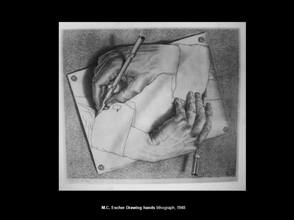 M.C. Escher Drawing hands lithograph, 1948