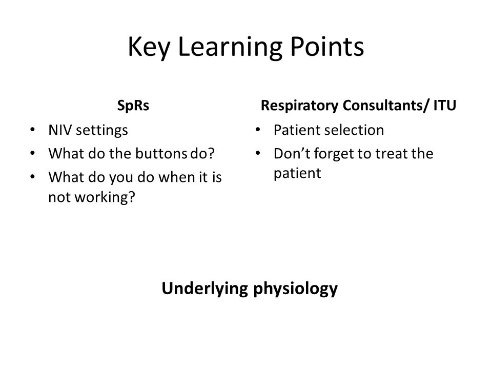 Overview Physiology NIV settings BIPAP in practice What to do when NIV isn't working Case studies