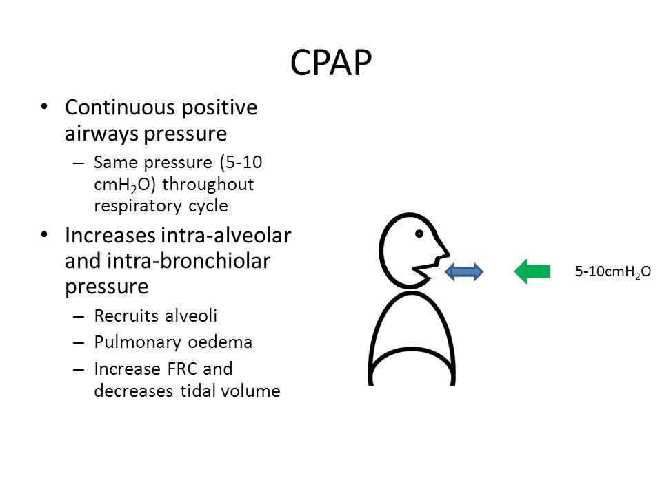 BIPAP Bi-level Positive Airways Pressure – Lower positive pressure during expiration (EPAP) (equivalent to CPAP) – Higher positive airways pressure during inspiration (IPAP) CPAP + Increases tidal volume 5-10cmH 2 O 12-20cmH 2 O IPAPEPAP