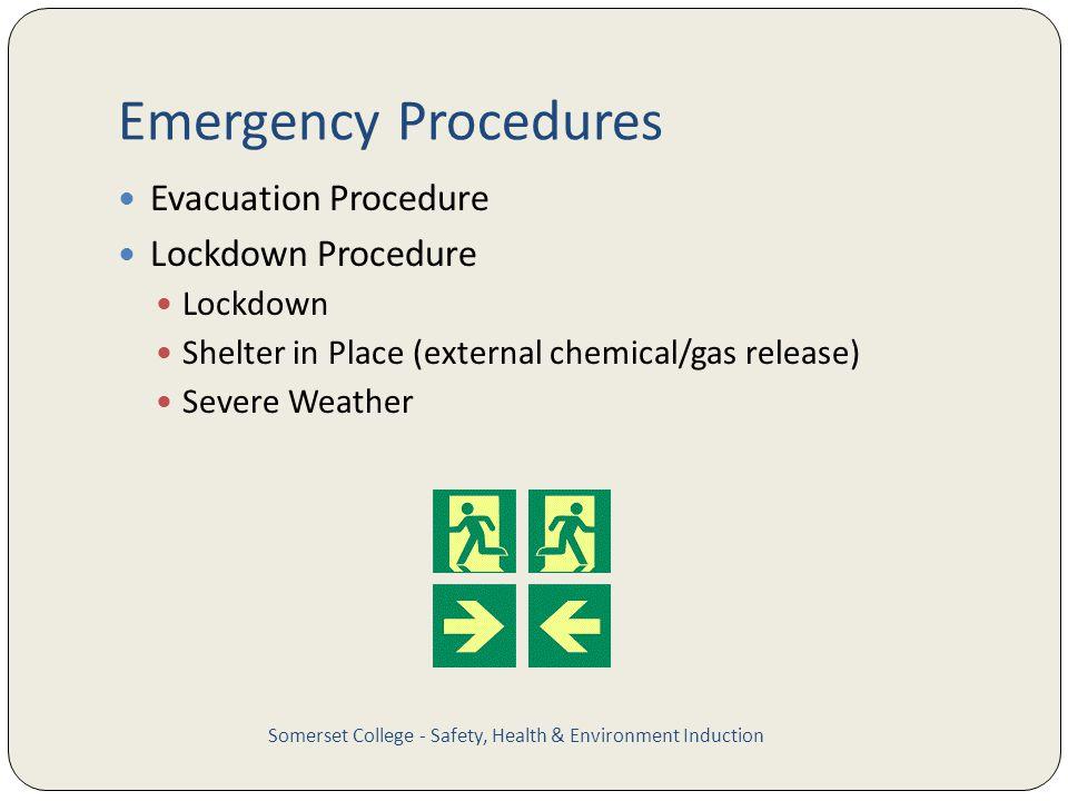 Emergency Procedures Evacuation Procedure Lockdown Procedure Lockdown Shelter in Place (external chemical/gas release) Severe Weather Somerset College