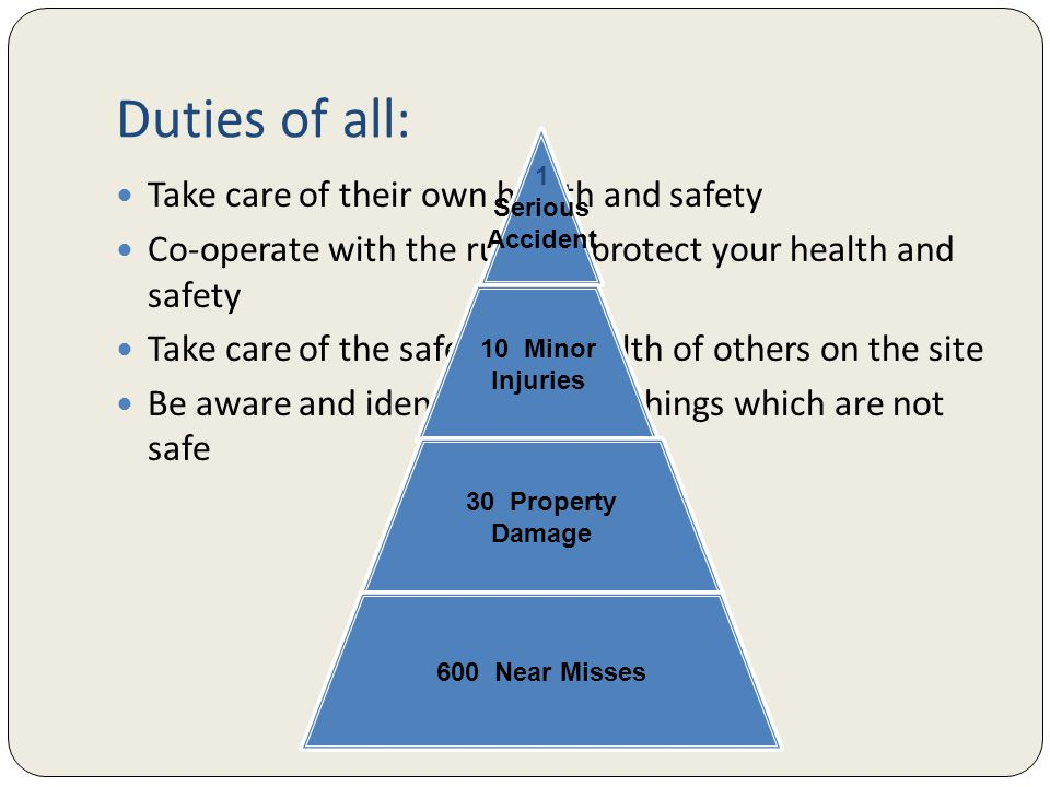 Duties of all: Take care of their own health and safety Co-operate with the rules to protect your health and safety Take care of the safety and health of others on the site Be aware and identify & report things which are not safe 1 Serious Accident 10 Minor Injuries 30 Property Damage 600 Near Misses
