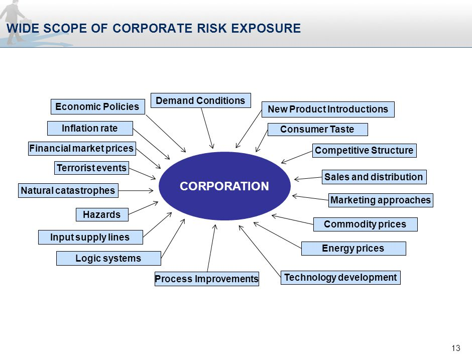 WIDE SCOPE OF CORPORATE RISK EXPOSURE 13 Economic Policies Demand Conditions New Product Introductions Consumer Taste Competitive Structure Sales and distribution Marketing approaches Commodity prices Energy prices Technology development Process Improvements Logic systems Input supply lines Hazards Natural catastrophes Terrorist events Financial market prices Inflation rate CORPORATION
