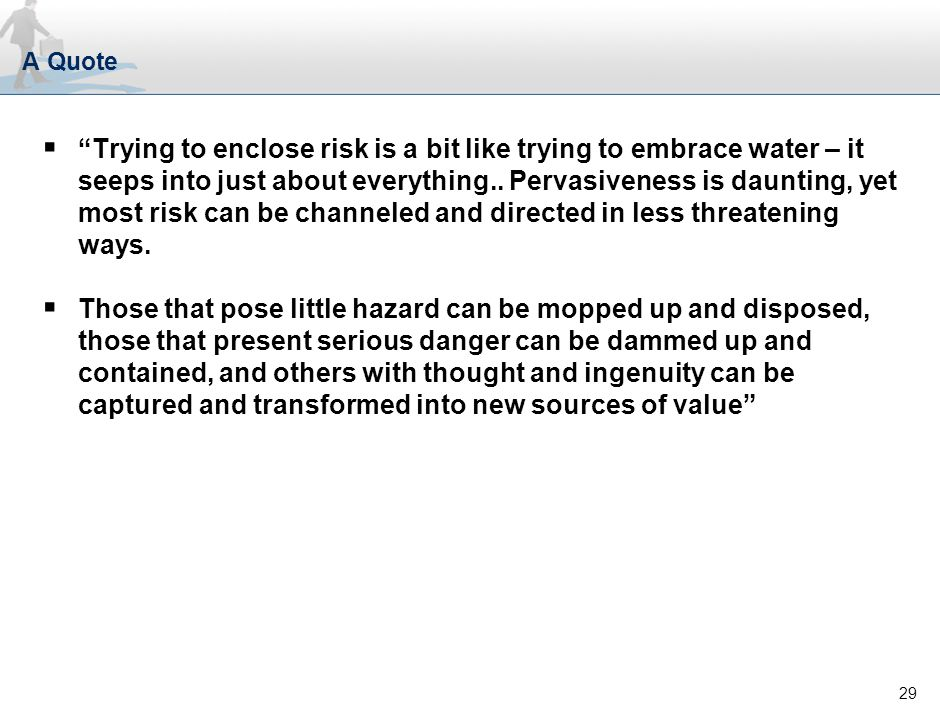 29 A Quote  Trying to enclose risk is a bit like trying to embrace water – it seeps into just about everything..