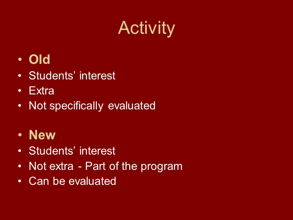 Activity Old Students' interest Extra Not specifically evaluated New Students' interest Not extra - Part of the program Can be evaluated