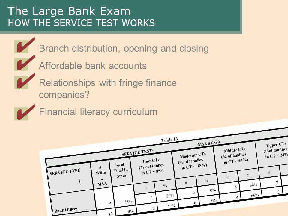 The Large Bank Exam HOW THE SERVICE TEST WORKS Branch distribution, opening and closing Affordable bank accounts Relationships with fringe finance companies.