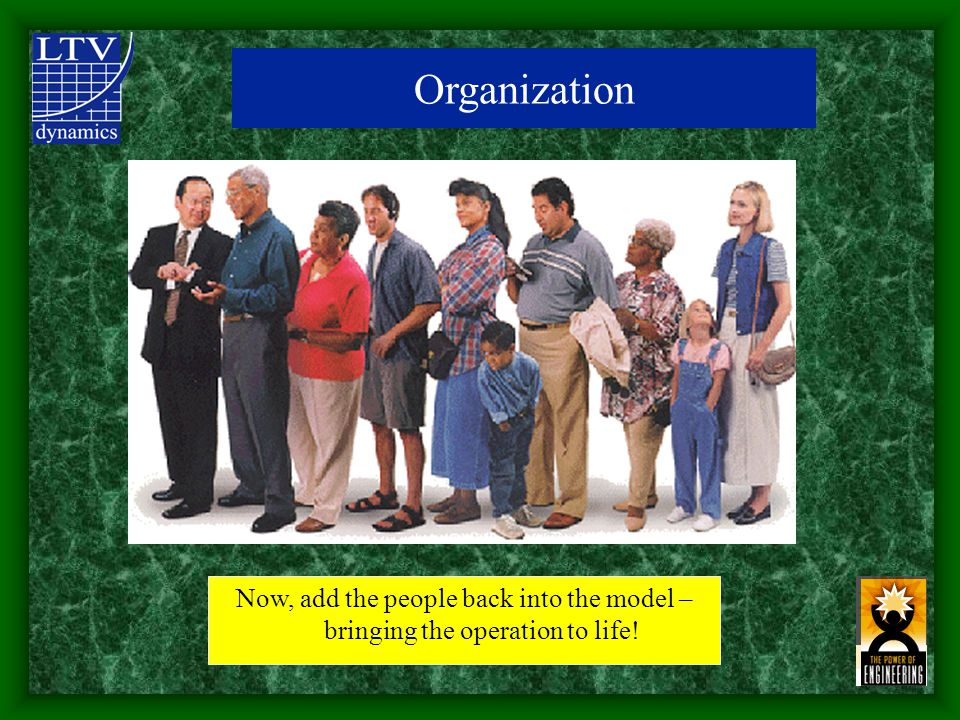 Now, add the people back into the model – bringing the operation to life! Organization