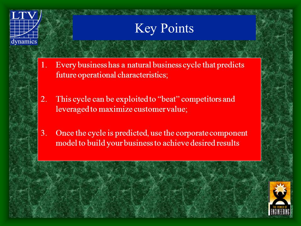 1.Every business has a natural business cycle that predicts future operational characteristics; 2.This cycle can be exploited to beat competitors and leveraged to maximize customer value; 3.Once the cycle is predicted, use the corporate component model to build your business to achieve desired results Key Points