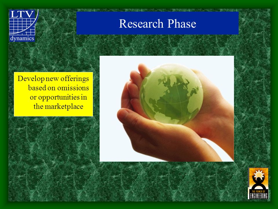 Research Phase Develop new offerings based on omissions or opportunities in the marketplace