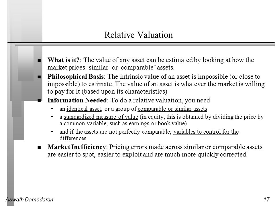 Aswath Damodaran17 Relative Valuation What is it : The value of any asset can be estimated by looking at how the market prices similar or 'comparable assets.