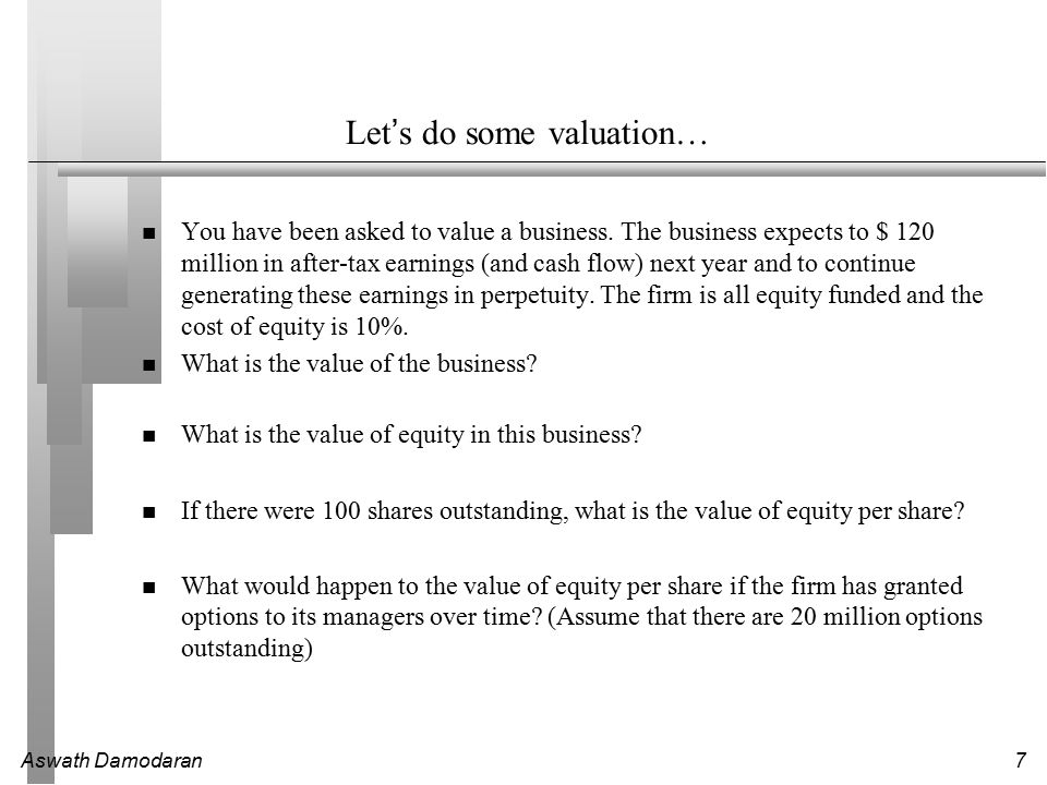 Aswath Damodaran7 Let's do some valuation… You have been asked to value a business. The business expects to $ 120 million in after-tax earnings (and c