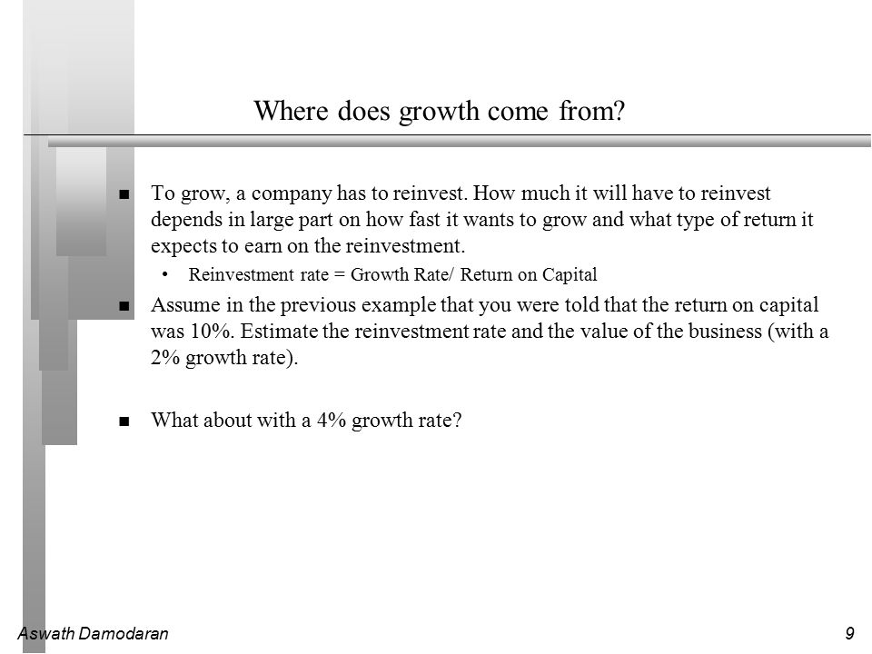 Aswath Damodaran9 Where does growth come from. To grow, a company has to reinvest.