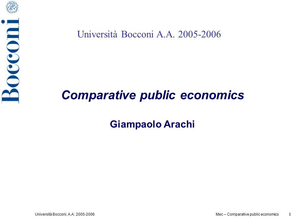 Università Bocconi, A.A: 2005-2006 1 Mec – Comparative public economics 1 Università Bocconi A.A. 2005-2006 Comparative public economics Giampaolo Ara