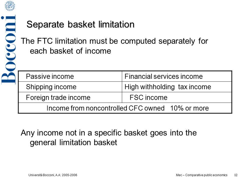 Università Bocconi, A.A: 2005-2006 12 Mec – Comparative public economics 12 Separate basket limitation The FTC limitation must be computed separately