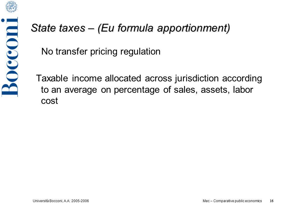 Università Bocconi, A.A: 2005-2006 16 Mec – Comparative public economics 16 State taxes – (Eu formula apportionment) No transfer pricing regulation Ta