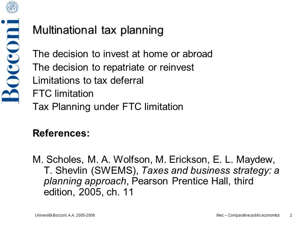 Università Bocconi, A.A: 2005-2006 2 Mec – Comparative public economics 2 Multinational tax planning The decision to invest at home or abroad The deci