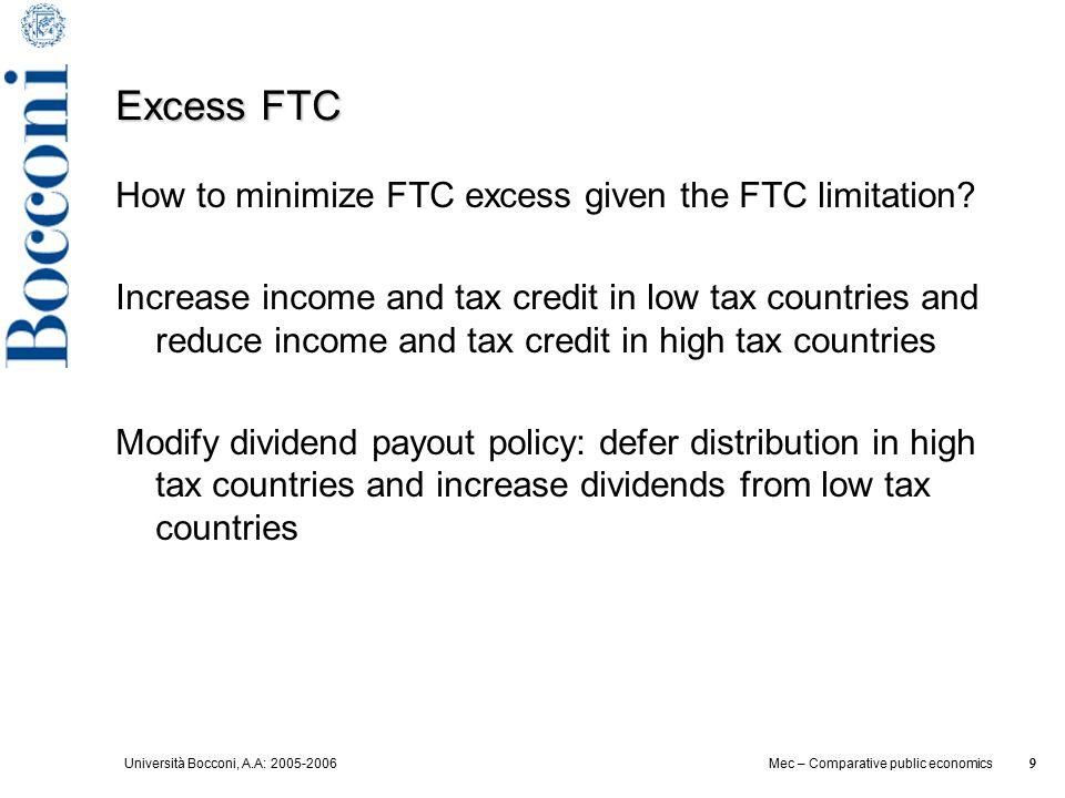 Università Bocconi, A.A: 2005-2006 9 Mec – Comparative public economics 9 Excess FTC How to minimize FTC excess given the FTC limitation? Increase inc