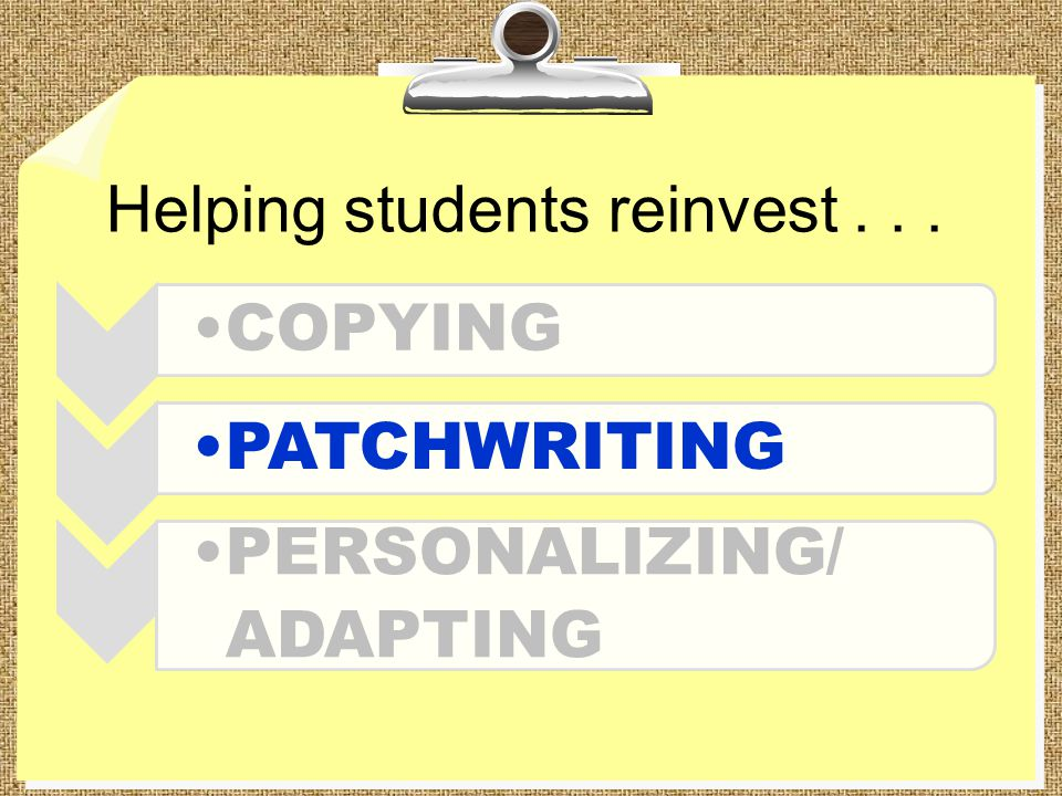 Helping students reinvest... COPYINGPATCHWRITING PERSONALIZING/ ADAPTING