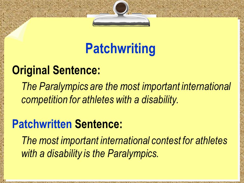 Patchwriting Original Sentence: The Paralympics are the most important international competition for athletes with a disability.