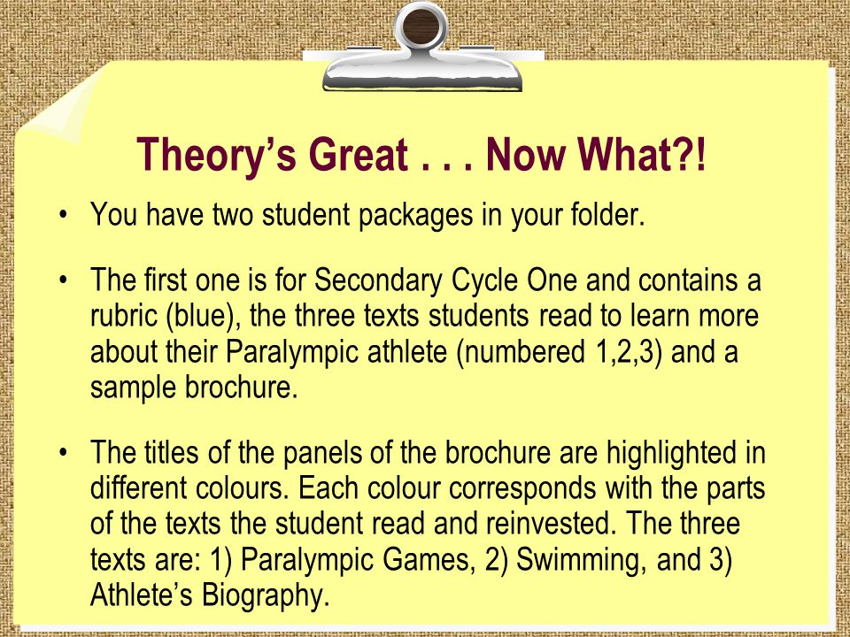 Theory's Great... Now What . You have two student packages in your folder.