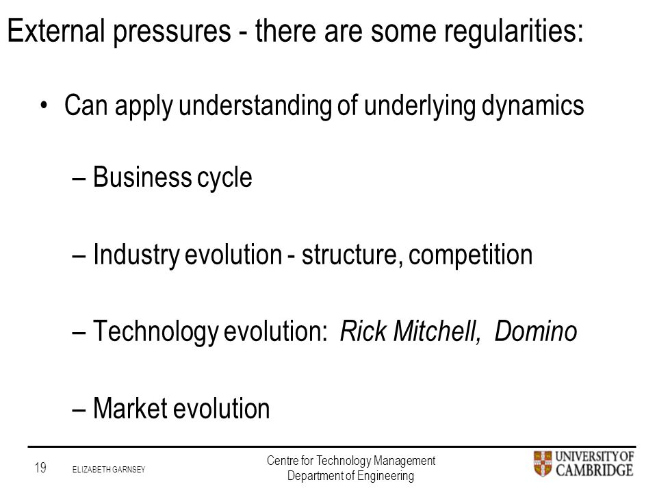 Institute for Manufacturing 19 ELIZABETH GARNSEY Centre for Technology Management Department of Engineering External pressures - there are some regularities: Can apply understanding of underlying dynamics –Business cycle –Industry evolution - structure, competition –Technology evolution: Rick Mitchell, Domino –Market evolution