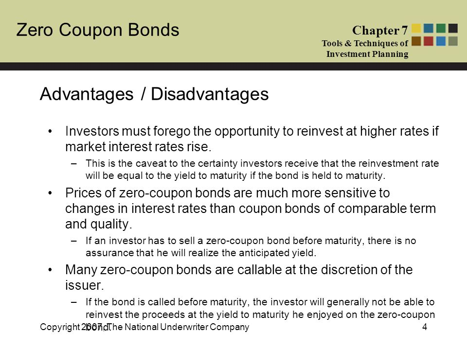 Zero Coupon Bonds Chapter 7 Tools & Techniques of Investment Planning Copyright 2007, The National Underwriter Company4 Advantages / Disadvantages Investors must forego the opportunity to reinvest at higher rates if market interest rates rise.