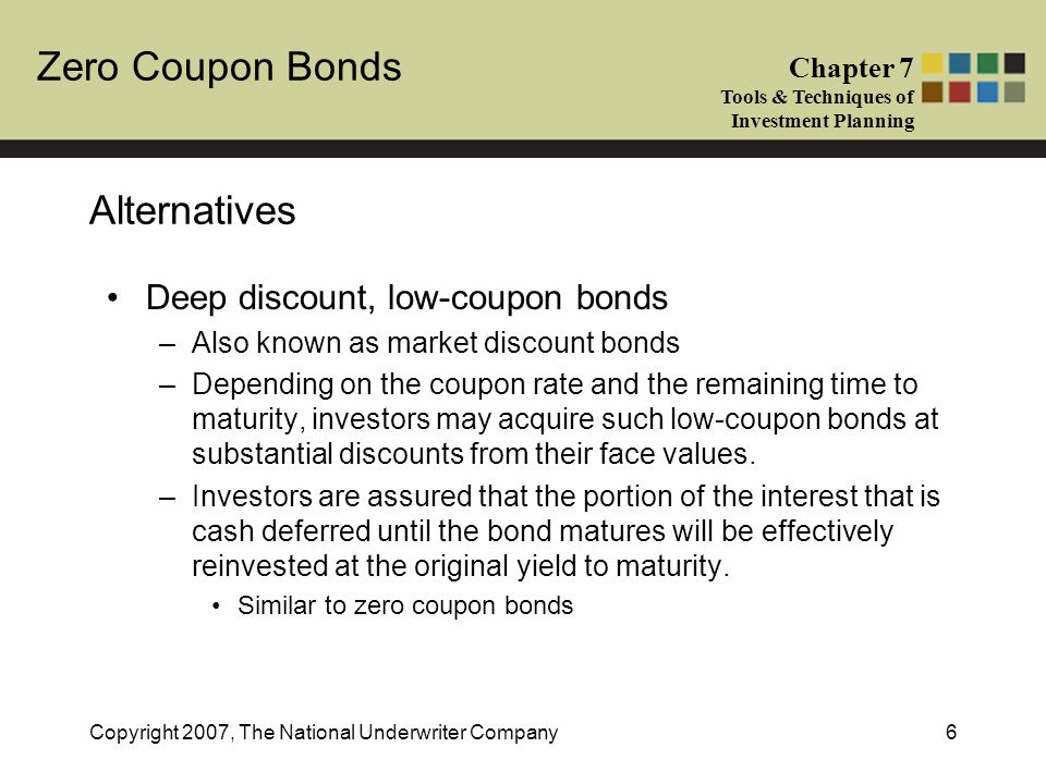 Zero Coupon Bonds Chapter 7 Tools & Techniques of Investment Planning Copyright 2007, The National Underwriter Company6 Alternatives Deep discount, lo