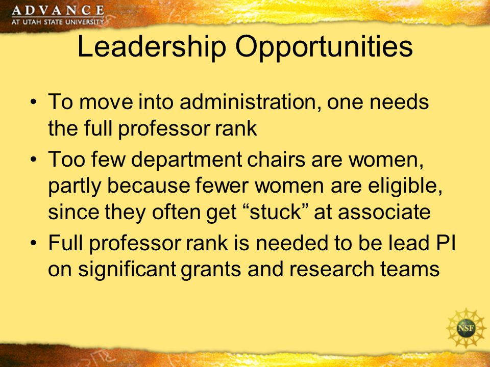 Leadership Opportunities To move into administration, one needs the full professor rank Too few department chairs are women, partly because fewer women are eligible, since they often get stuck at associate Full professor rank is needed to be lead PI on significant grants and research teams