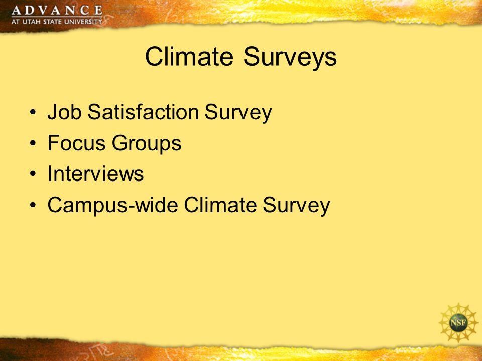 Climate Surveys Job Satisfaction Survey Focus Groups Interviews Campus-wide Climate Survey