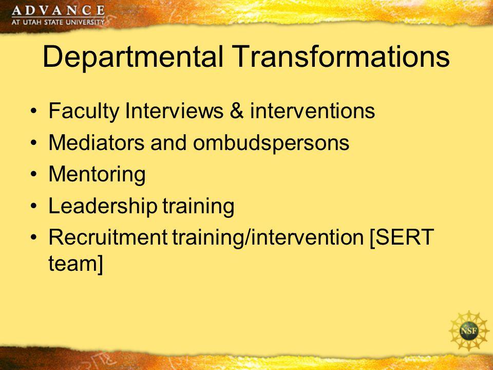 Departmental Transformations Faculty Interviews & interventions Mediators and ombudspersons Mentoring Leadership training Recruitment training/intervention [SERT team]