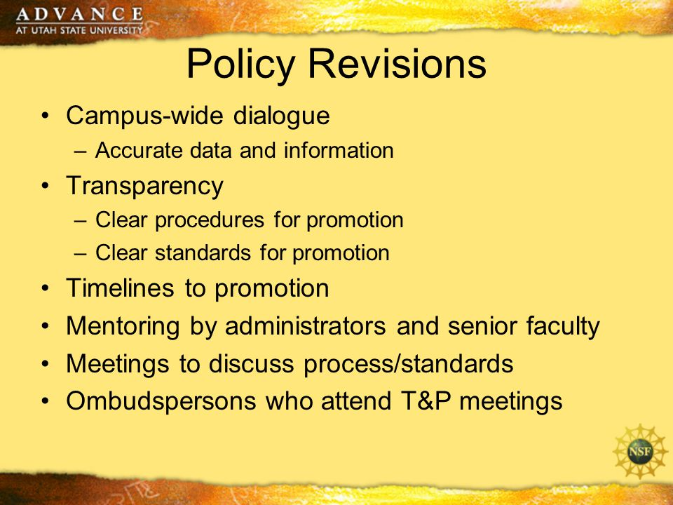 Policy Revisions Campus-wide dialogue –Accurate data and information Transparency –Clear procedures for promotion –Clear standards for promotion Timelines to promotion Mentoring by administrators and senior faculty Meetings to discuss process/standards Ombudspersons who attend T&P meetings