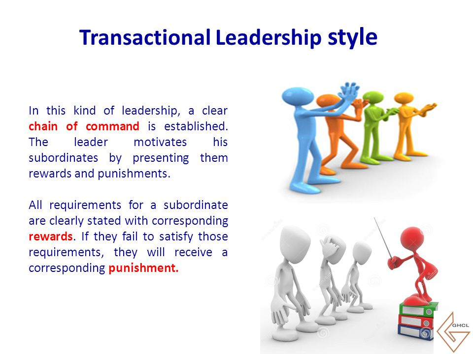 In this kind of leadership, a clear chain of command is established. The leader motivates his subordinates by presenting them rewards and punishments.