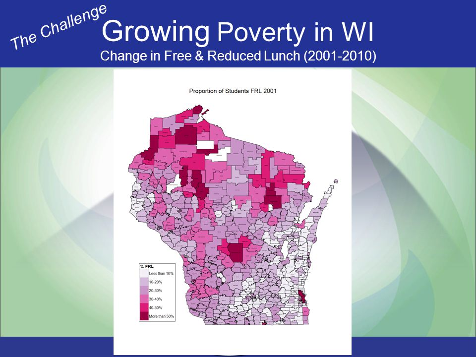Growing Poverty in WI Change in Free & Reduced Lunch (2001-2010) The Challenge