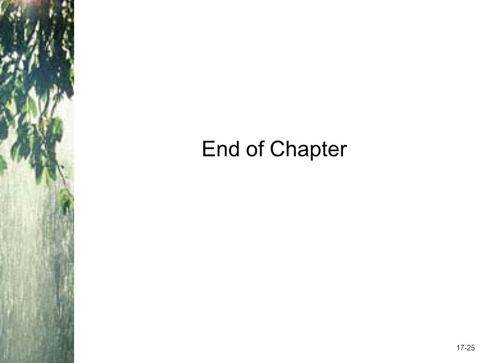 End of Chapter 17-25