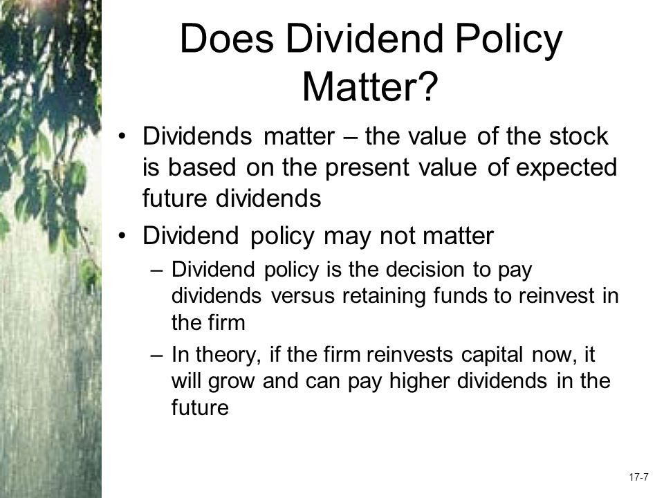 Does Dividend Policy Matter.