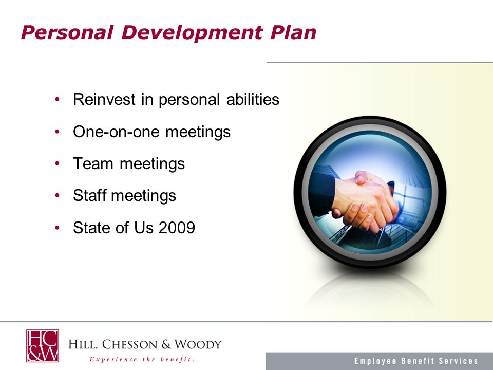 Personal Development Plan Reinvest in personal abilities One-on-one meetings Team meetings Staff meetings State of Us 2009