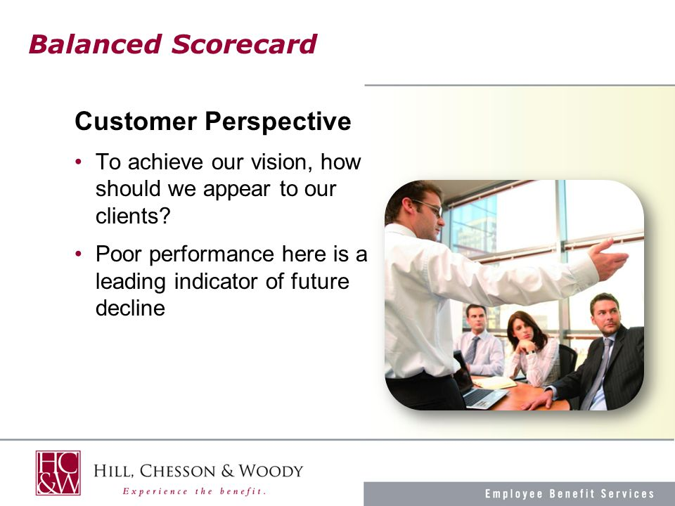 Balanced Scorecard Customer Perspective To achieve our vision, how should we appear to our clients.