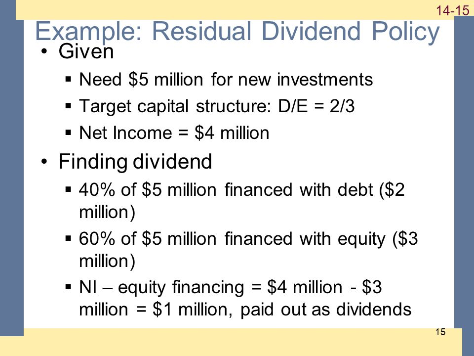 1-15 14-15 15 Example: Residual Dividend Policy Given  Need $5 million for new investments  Target capital structure: D/E = 2/3  Net Income = $4 mi