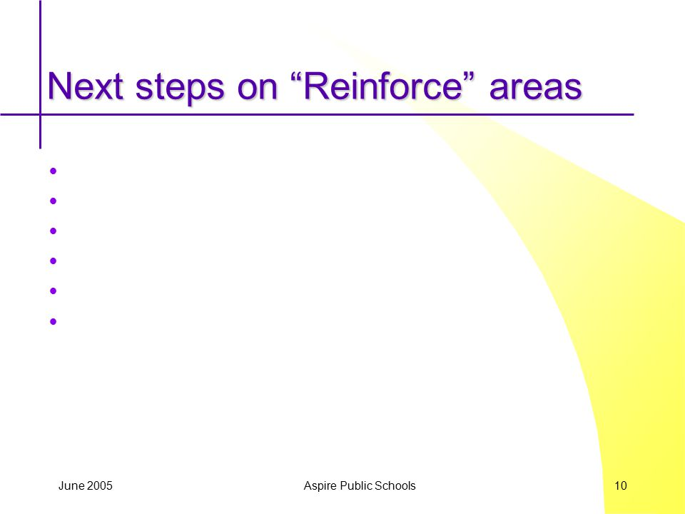 "June 2005 Aspire Public Schools 10 Next steps on ""Reinforce"" areas"
