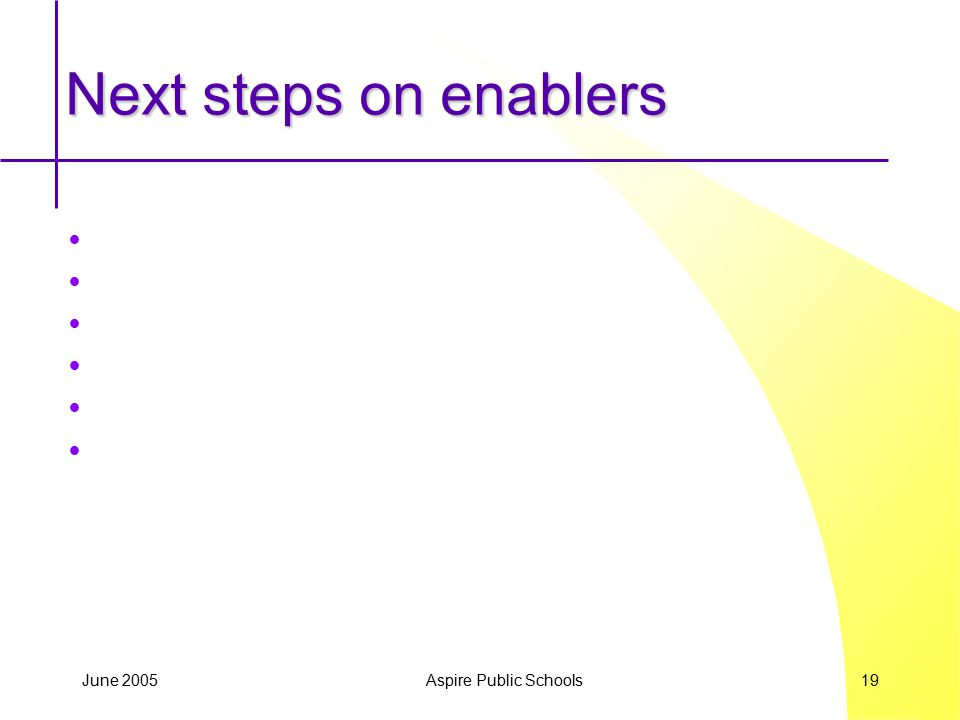 June 2005 Aspire Public Schools 19 Next steps on enablers