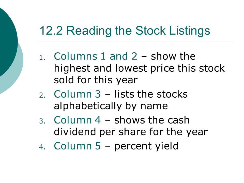 1.Columns 1 and 2 – show the highest and lowest price this stock sold for this year 2.