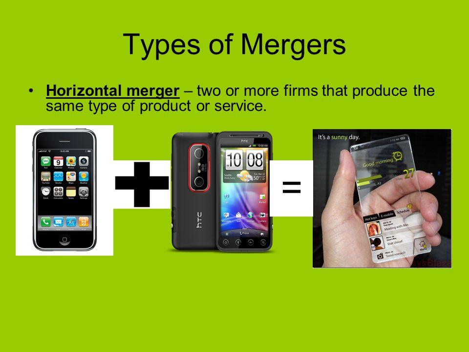 Types of Mergers Horizontal merger – two or more firms that produce the same type of product or service.