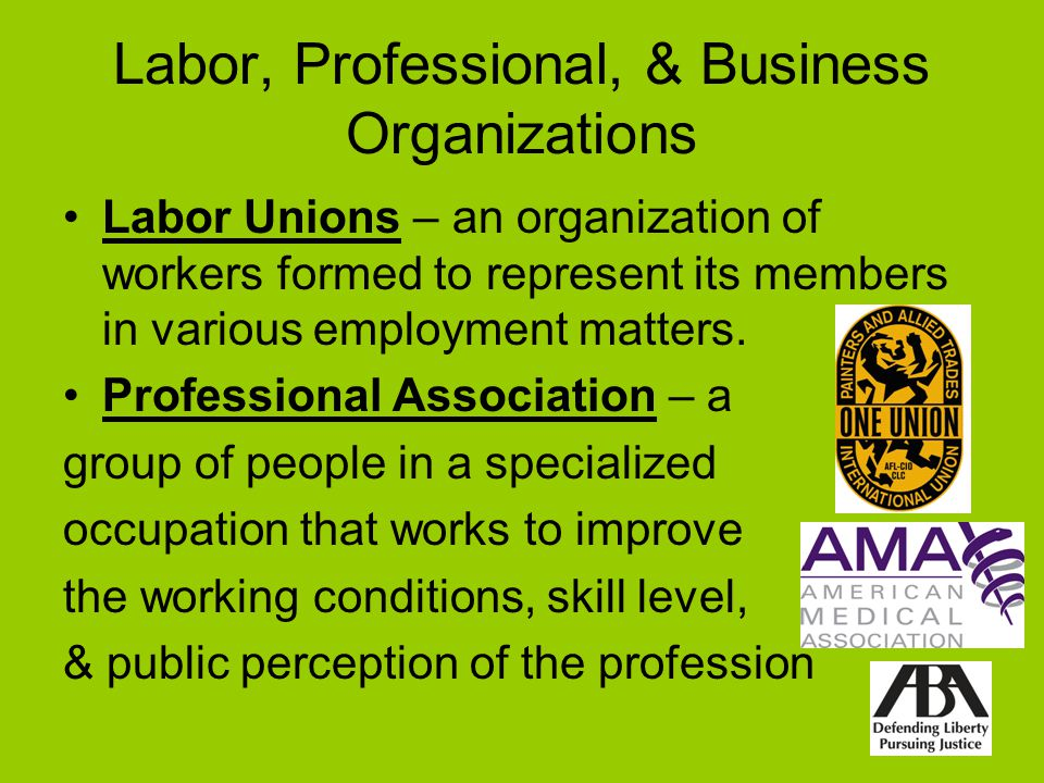 Labor, Professional, & Business Organizations Labor Unions – an organization of workers formed to represent its members in various employment matters.