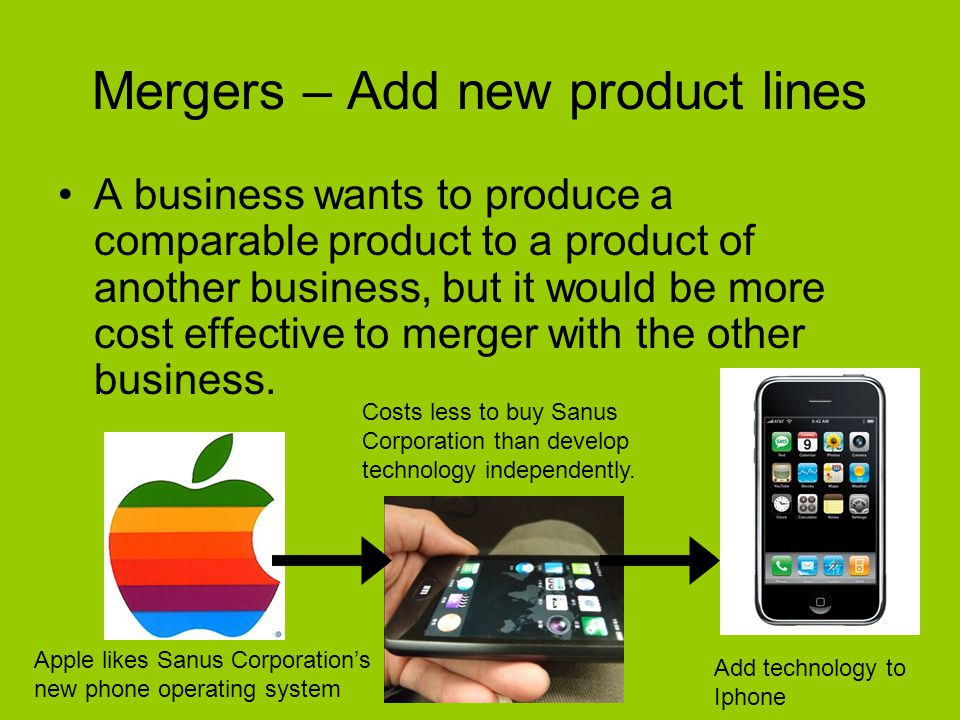 Mergers – Add new product lines A business wants to produce a comparable product to a product of another business, but it would be more cost effective to merger with the other business.