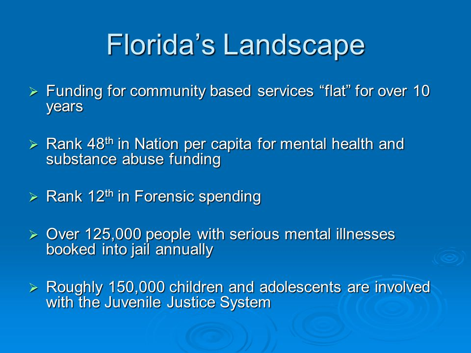 Florida's Landscape  Funding for community based services flat for over 10 years  Rank 48 th in Nation per capita for mental health and substance abuse funding  Rank 12 th in Forensic spending  Over 125,000 people with serious mental illnesses booked into jail annually  Roughly 150,000 children and adolescents are involved with the Juvenile Justice System
