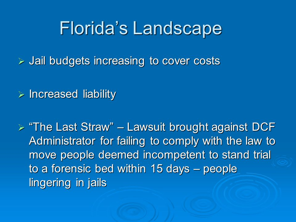 Florida's Landscape  Jail budgets increasing to cover costs  Increased liability  The Last Straw – Lawsuit brought against DCF Administrator for failing to comply with the law to move people deemed incompetent to stand trial to a forensic bed within 15 days – people lingering in jails