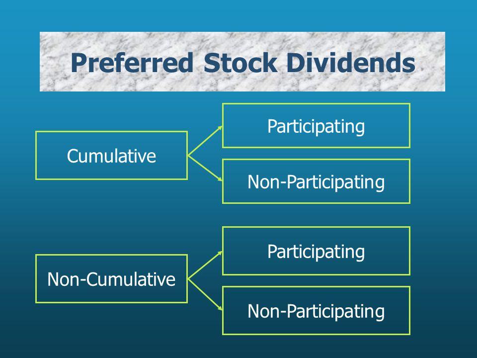 Preferred Stock Dividends Cumulative Participating Non-Participating Non-Cumulative Participating Non-Participating