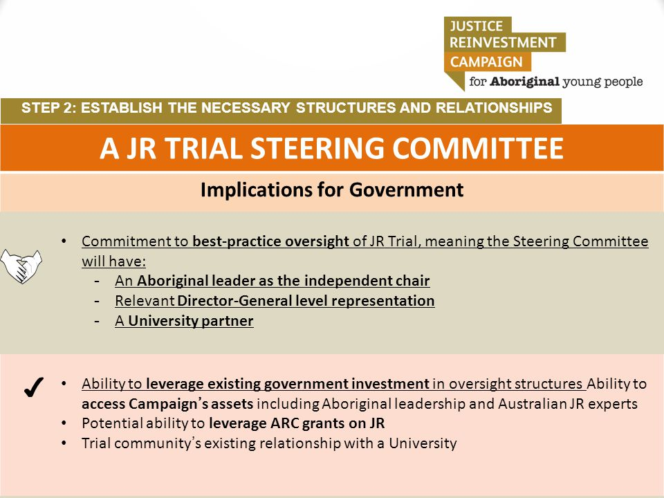STEP 2: ESTABLISH THE NECESSARY STRUCTURES AND RELATIONSHIPS A JR TRIAL STEERING COMMITTEE Implications for Government Commitment to best-practice ove