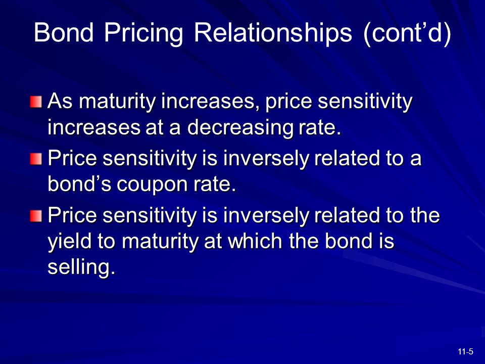 11-5 As maturity increases, price sensitivity increases at a decreasing rate. Price sensitivity is inversely related to a bond's coupon rate. Price se