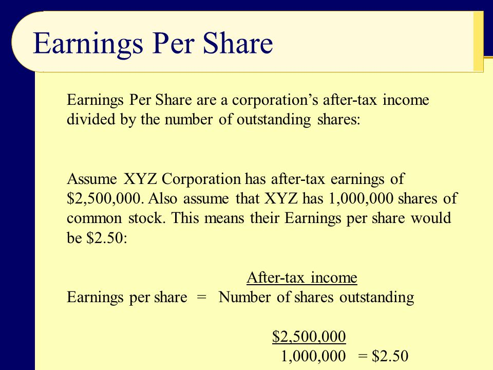 Price-Earnings Ratio The price of a share of stock divided by the corporation's earnings per share of stock.