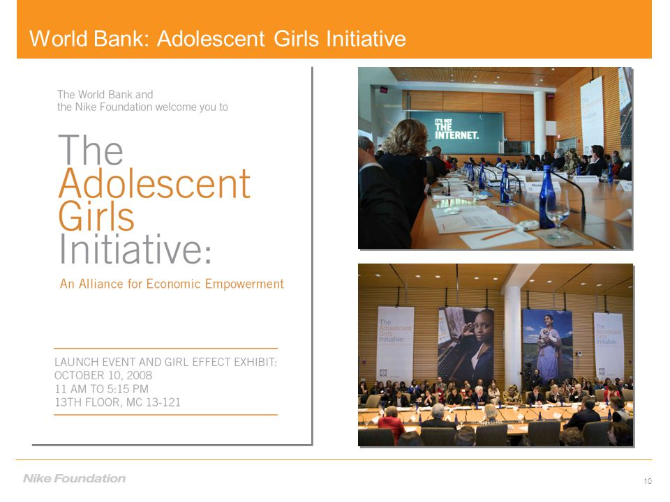10 World Bank: Adolescent Girls Initiative